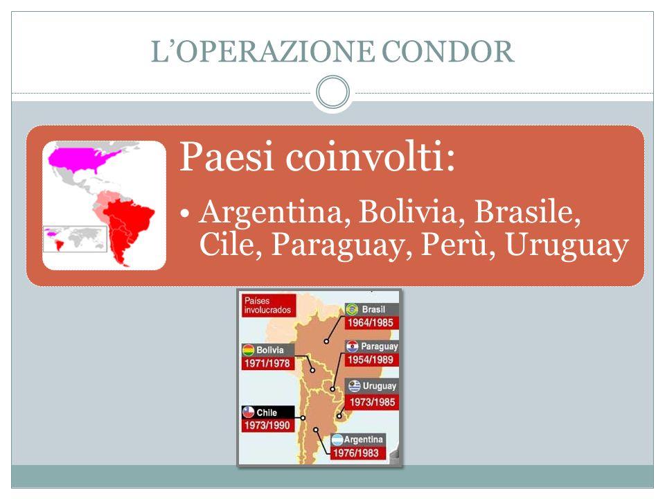 LOPERAZIONE CONDOR Paesi coinvolti: Argentina, Bolivia, Brasile, Cile, Paraguay, Perù, Uruguay