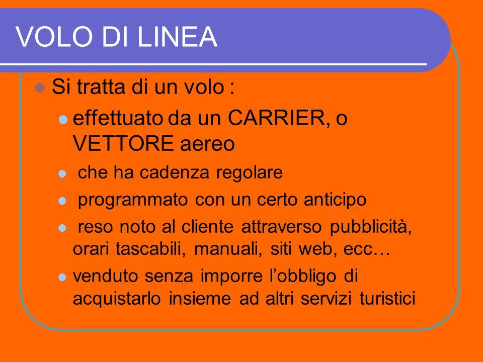 PREMESSA I VOLI POSSONO ESSERE: PRIVATI, DI LINEA O CHARTER.
