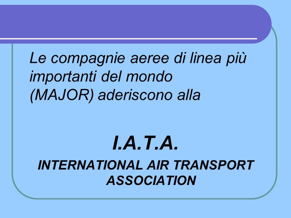 I CARRIER PAX e le politiche Per loro scelte aziendali, le compagnie aeree sono divisibili in: Di LINEA e aderenti alla I.A.T.A., MAJOR Di LINEA e non aderenti alla I.A.T.A., MAJOR DI LINEA e LOW COST CHARTER
