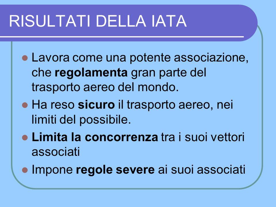 La IATA È unassociazione volontaria tra Vettori Aerei Controlla i regolamenti e li rende uniformi nel mondo Tutela la sicurezza dei voli Cura e promuove limmagine delle Compagnie Aeree Controlla le Agenzie Aeree abilitate a vendere e prenotare Compie studi di mercato e promuove le vendite