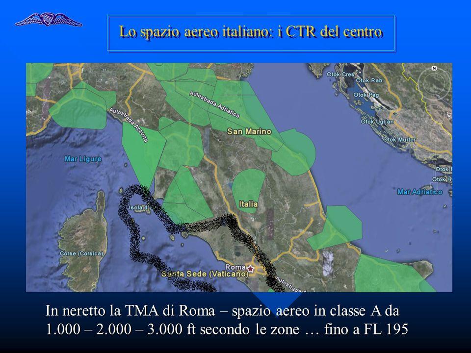 Lo spazio aereo italiano: i CTR del centro In neretto la TMA di Roma – spazio aereo in classe A da 1.000 – 2.000 – 3.000 ft secondo le zone … fino a F