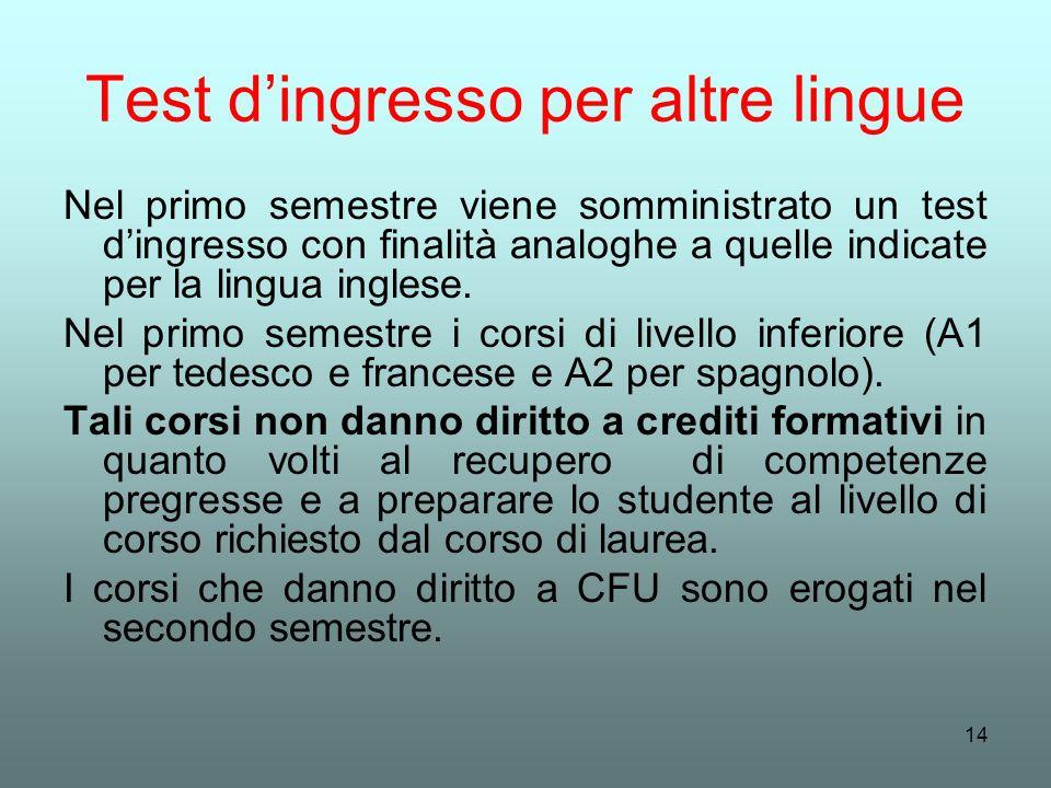 14 Test dingresso per altre lingue Nel primo semestre viene somministrato un test dingresso con finalità analoghe a quelle indicate per la lingua ingl