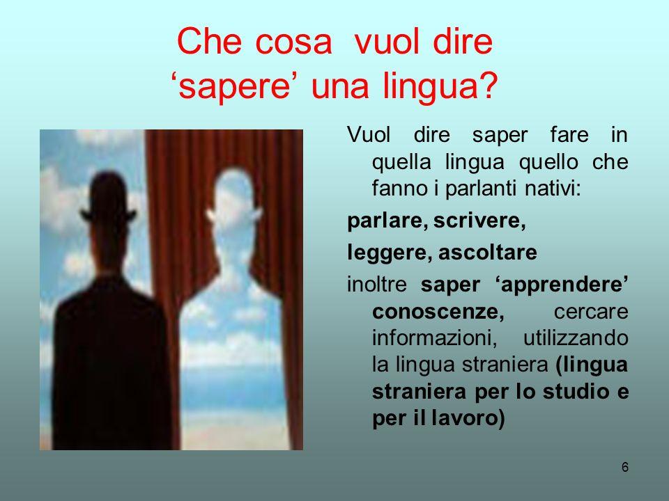 6 Che cosa vuol dire sapere una lingua? Vuol dire saper fare in quella lingua quello che fanno i parlanti nativi: parlare, scrivere, leggere, ascoltar