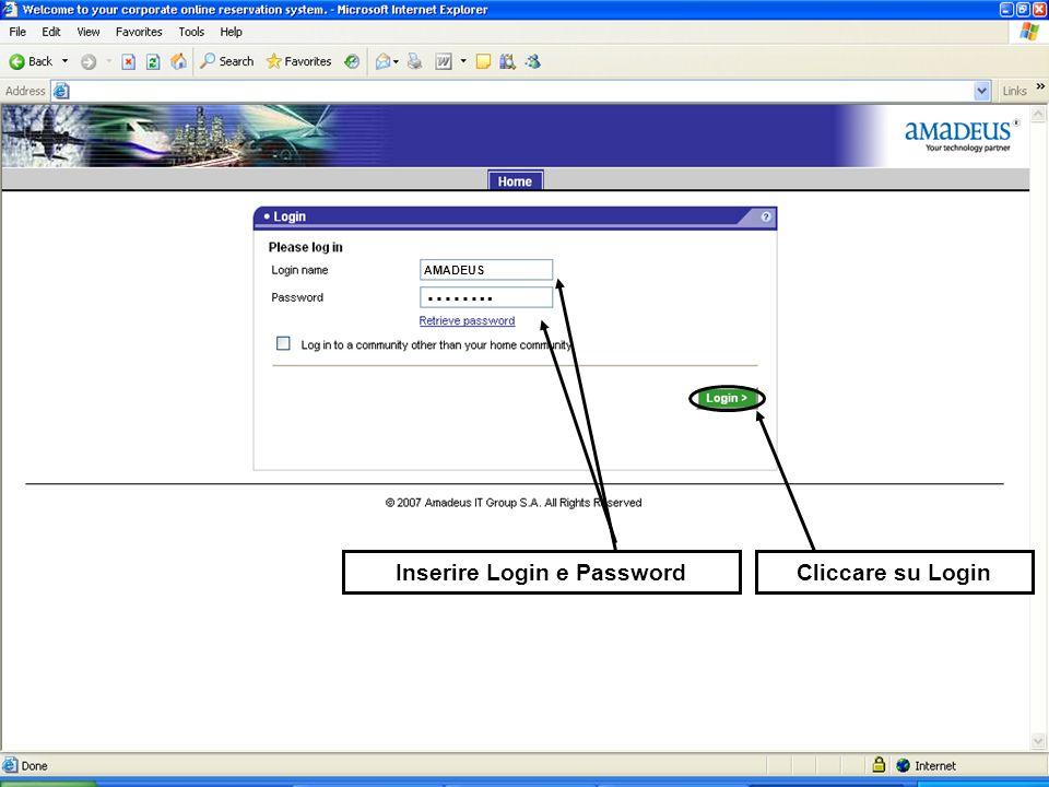 Inserire Login e PasswordCliccare su Login AMADEUS ……..