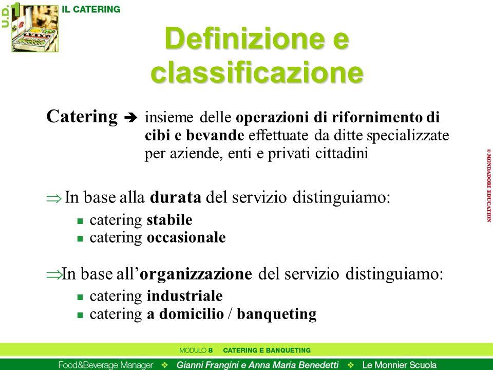 Definizione e classificazione In base alla durata del servizio distinguiamo: n catering stabile n catering occasionale In base allorganizzazione del s