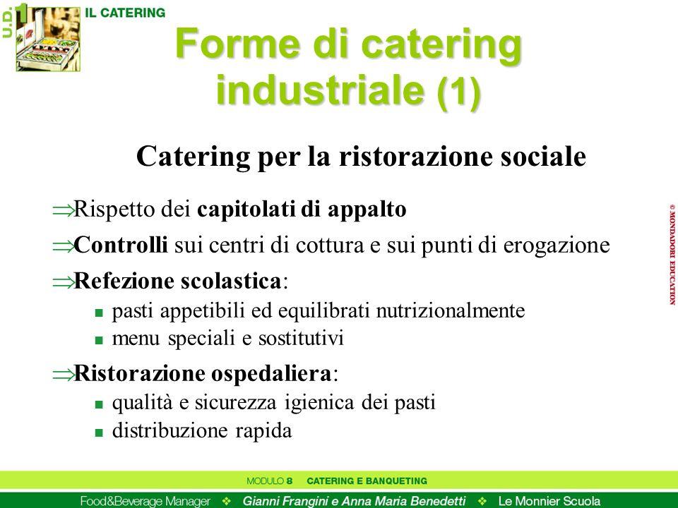 Forme di catering industriale (1) Rispetto dei capitolati di appalto Controlli sui centri di cottura e sui punti di erogazione Refezione scolastica: n