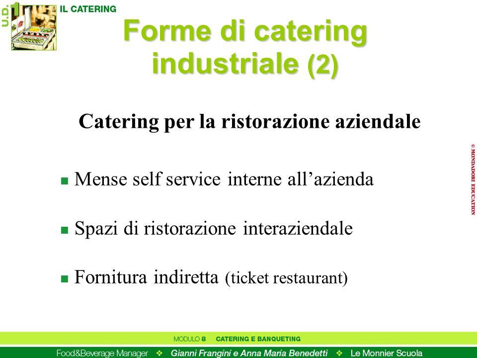 Forme di catering industriale (2) n Mense self service interne allazienda n Spazi di ristorazione interaziendale n Fornitura indiretta (ticket restaur