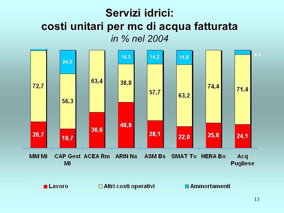13 Servizi idrici: costi unitari per mc di acqua fatturata Servizi idrici: costi unitari per mc di acqua fatturata in % nel 2004