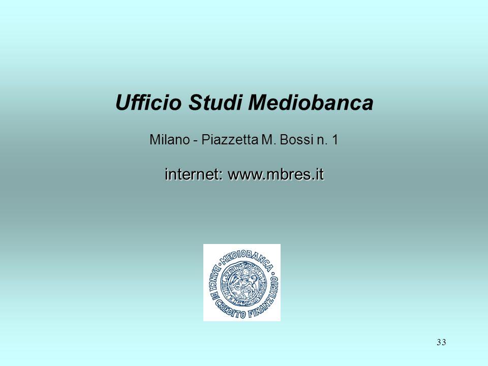 33 internet: www.mbres.it Ufficio Studi Mediobanca Milano - Piazzetta M.