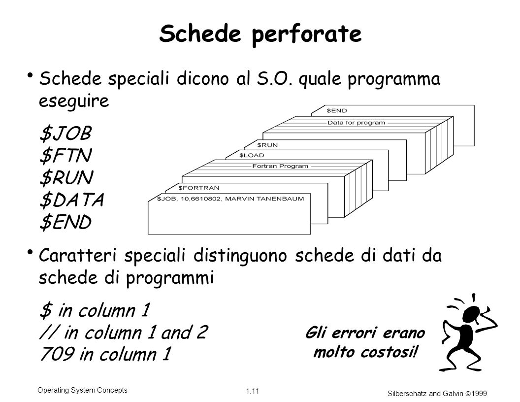 Silberschatz and Galvin 1999 1.11 Operating System Concepts Schede perforate Schede speciali dicono al S.O.