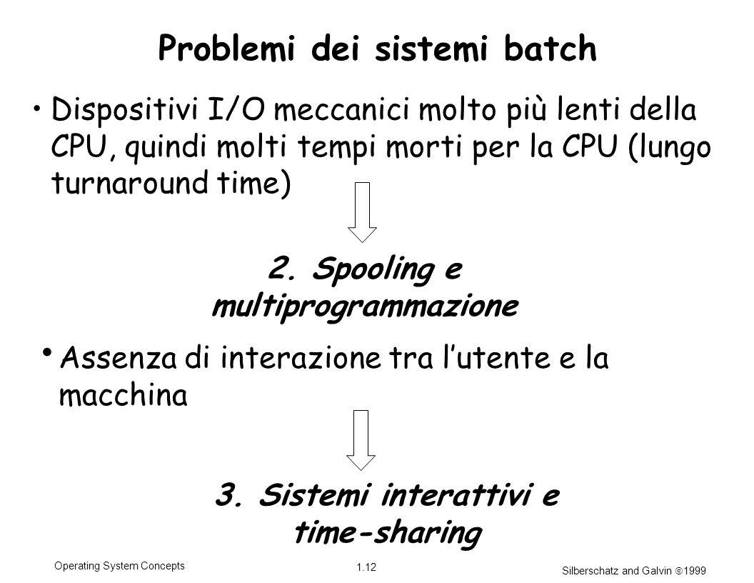 Silberschatz and Galvin 1999 1.12 Operating System Concepts Problemi dei sistemi batch Dispositivi I/O meccanici molto più lenti della CPU, quindi mol