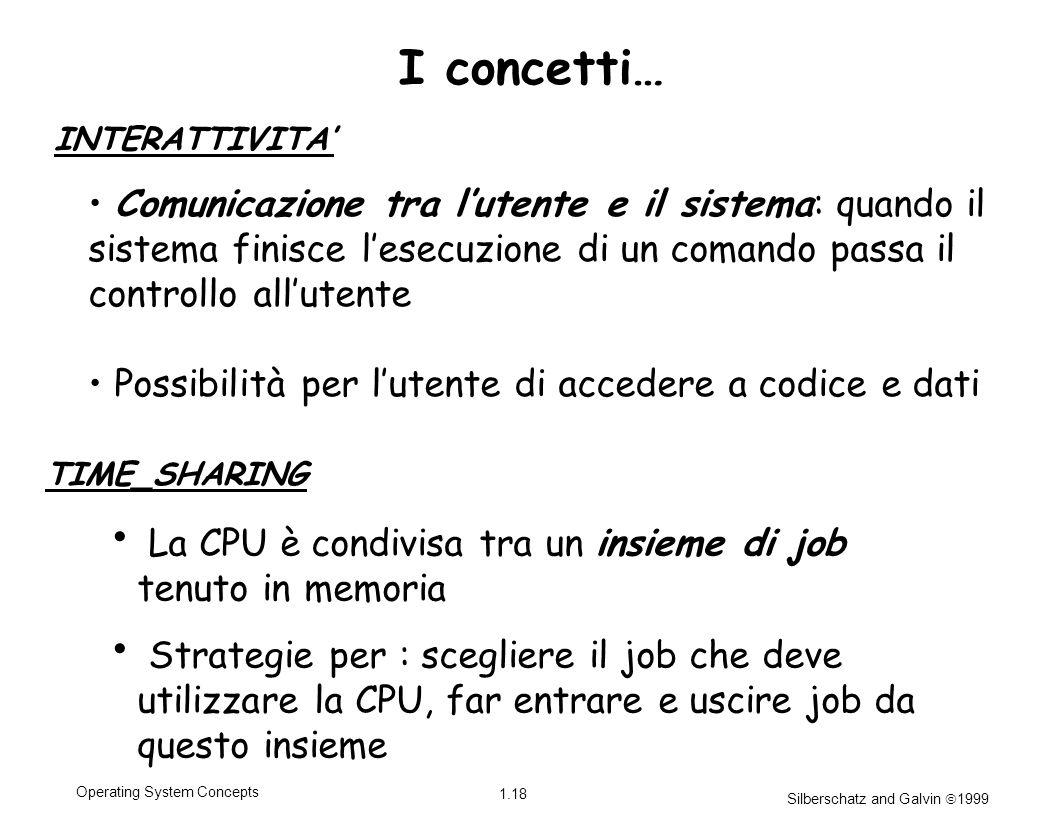 Silberschatz and Galvin 1999 1.18 Operating System Concepts La CPU è condivisa tra un insieme di job tenuto in memoria Strategie per : scegliere il jo