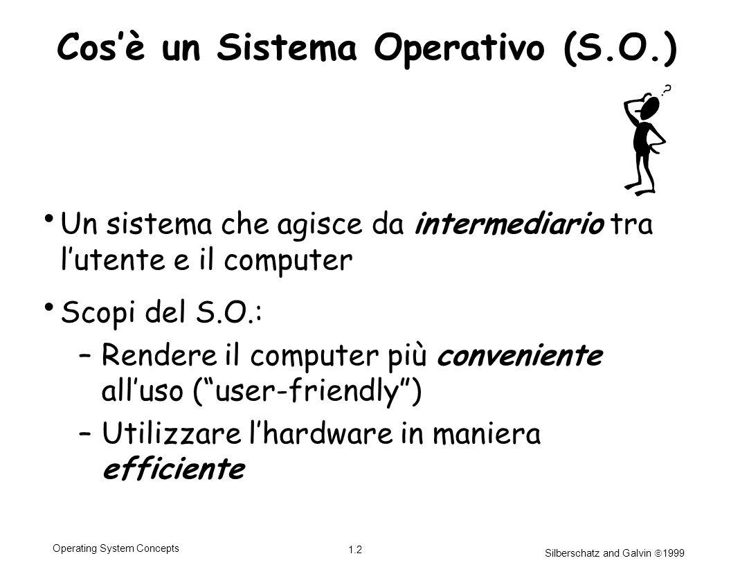 Silberschatz and Galvin 1999 1.2 Operating System Concepts Cosè un Sistema Operativo (S.O.) Un sistema che agisce da intermediario tra lutente e il co