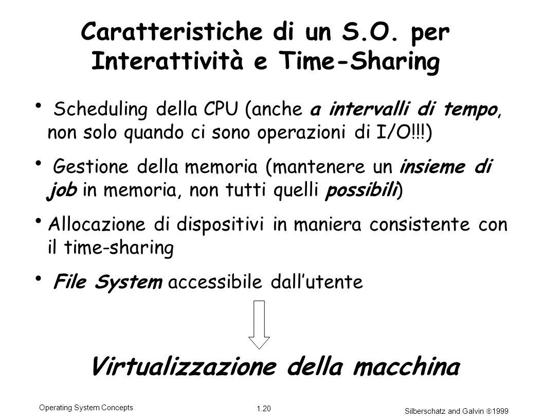 Silberschatz and Galvin 1999 1.20 Operating System Concepts Caratteristiche di un S.O. per Interattività e Time-Sharing Scheduling della CPU (anche a