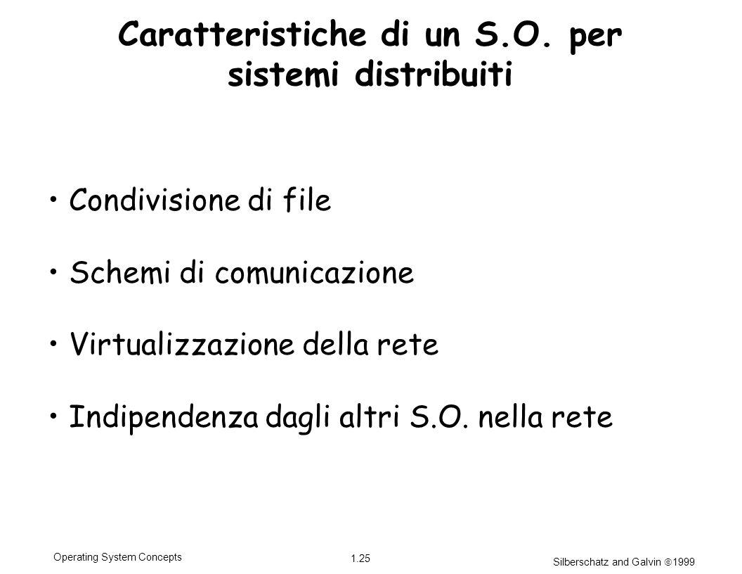Silberschatz and Galvin 1999 1.25 Operating System Concepts Caratteristiche di un S.O. per sistemi distribuiti Condivisione di file Schemi di comunica