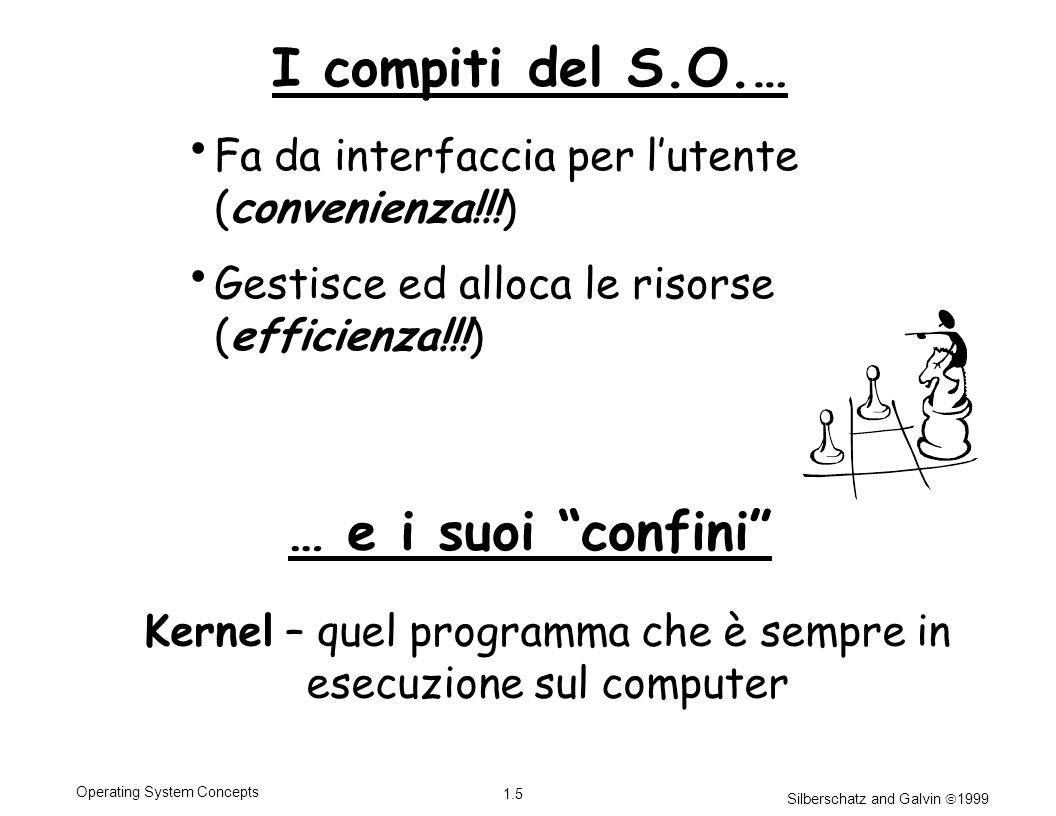 Silberschatz and Galvin 1999 1.5 Operating System Concepts I compiti del S.O.… Fa da interfaccia per lutente (convenienza!!!) Gestisce ed alloca le risorse (efficienza!!!) Kernel – quel programma che è sempre in esecuzione sul computer … e i suoi confini