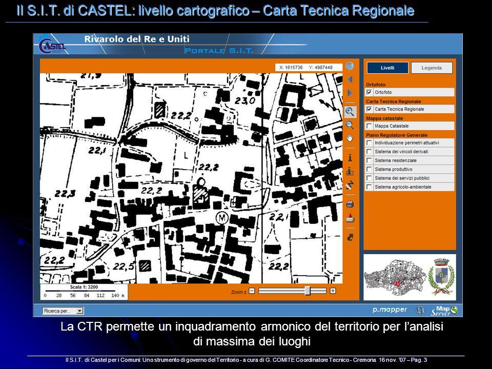 Il S.I.T. di CASTEL: livello cartografico – Carta Tecnica Regionale __________________________________________________________________________________