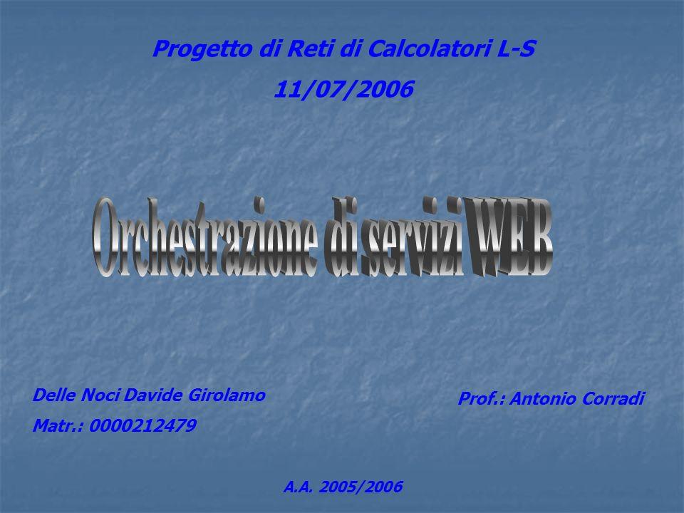 Progetto di Reti di Calcolatori L-S 11/07/2006 Delle Noci Davide Girolamo Matr.: 0000212479 Prof.: Antonio Corradi A.A. 2005/2006
