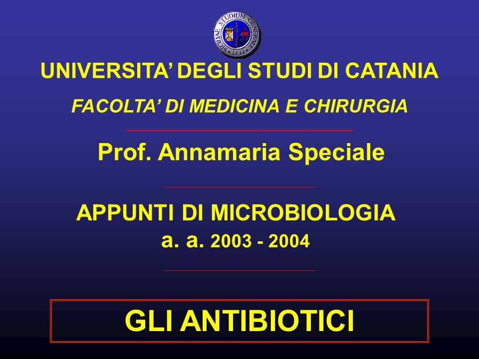 APPUNTI DI MICROBIOLOGIA a. a. 2003 - 2004 Prof. Annamaria Speciale UNIVERSITA DEGLI STUDI DI CATANIA FACOLTA DI MEDICINA E CHIRURGIA GLI ANTIBIOTICI