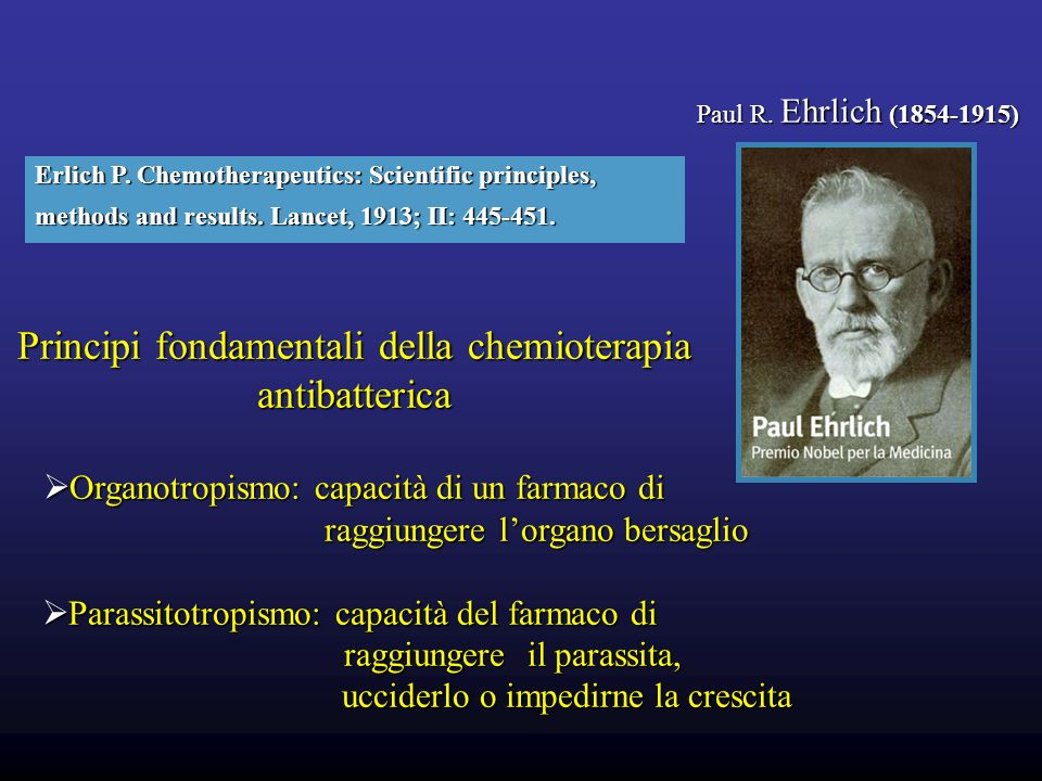 Paul R. Ehrlich (1854-1915) Erlich P. Chemotherapeutics: Scientific principles, methods and results. Lancet, 1913; II: 445-451. Principi fondamentali