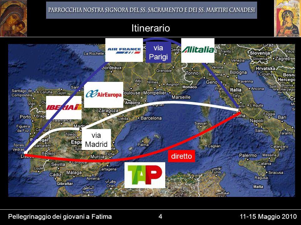 Pellegrinaggio dei giovani a Fatima4 11-15 Maggio 2010 Itinerario via Parigi via Madrid diretto