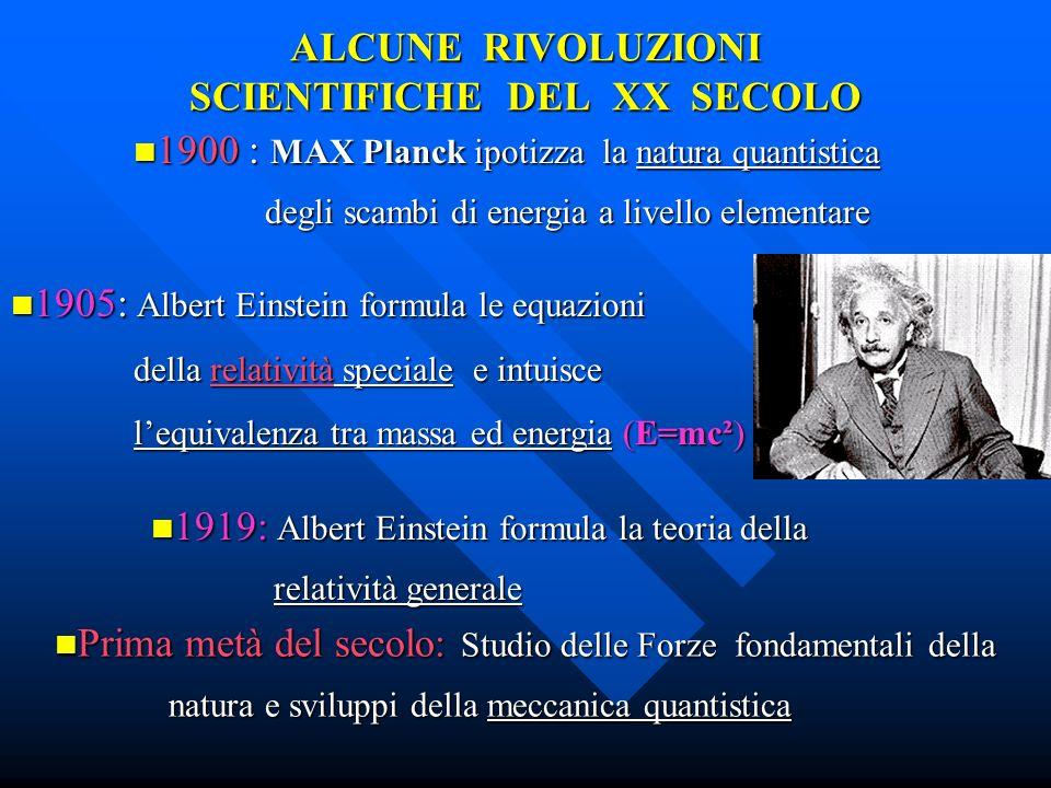 ALCUNE RIVOLUZIONI SCIENTIFICHE DEL XX SECOLO 1919: Albert Einstein formula la teoria della 1919: Albert Einstein formula la teoria della relatività g