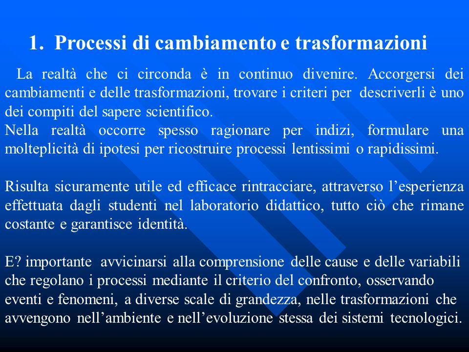 1. Processi di cambiamento e trasformazioni La realtà che ci circonda è in continuo divenire. Accorgersi dei cambiamenti e delle trasformazioni, trova