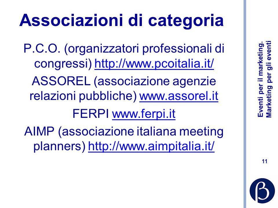 Eventi per il marketing.Marketing per gli eventi 11 Associazioni di categoria P.C.O.