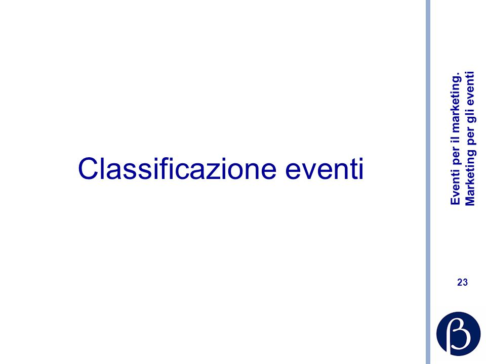 Eventi per il marketing. Marketing per gli eventi 23 Classificazione eventi