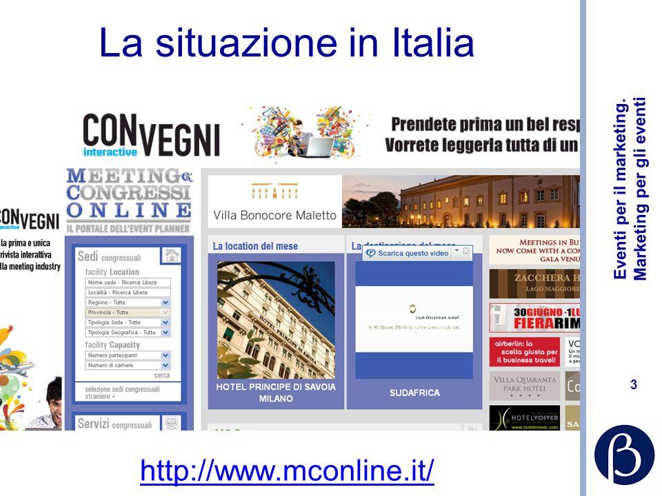 Eventi per il marketing. Marketing per gli eventi 3 La situazione in Italia http://www.mconline.it/