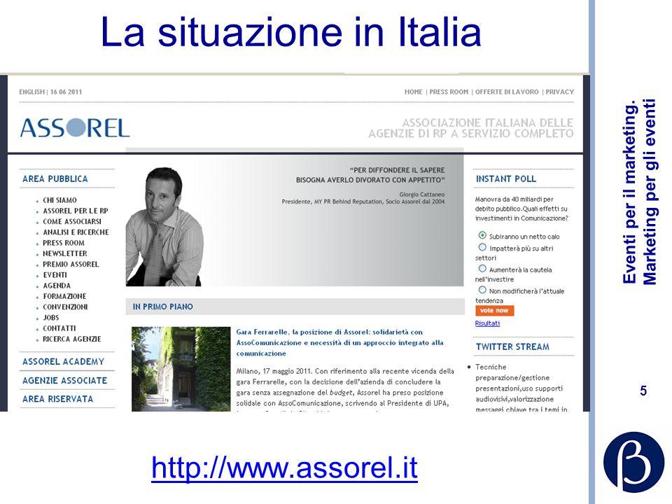 Eventi per il marketing. Marketing per gli eventi 5 La situazione in Italia http://www.assorel.it