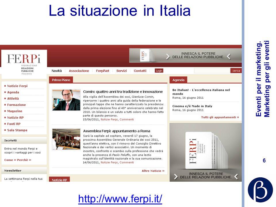 Eventi per il marketing. Marketing per gli eventi 6 La situazione in Italia http://www.ferpi.it/