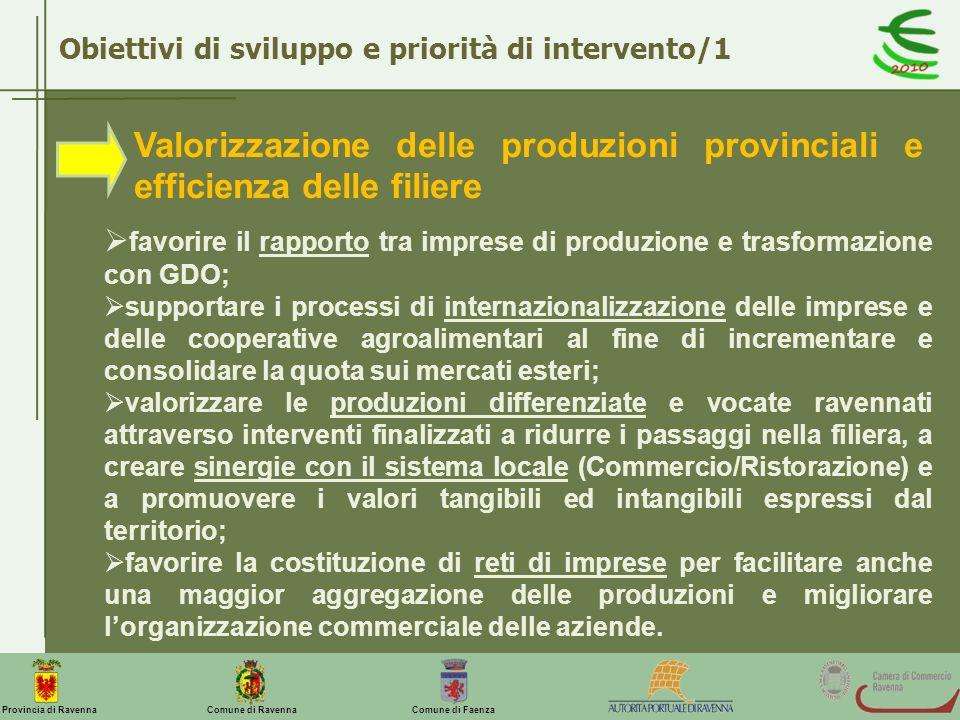Comune di Ravenna Comune di FaenzaProvincia di Ravenna Obiettivi di sviluppo e priorità di intervento/1 Valorizzazione delle produzioni provinciali e