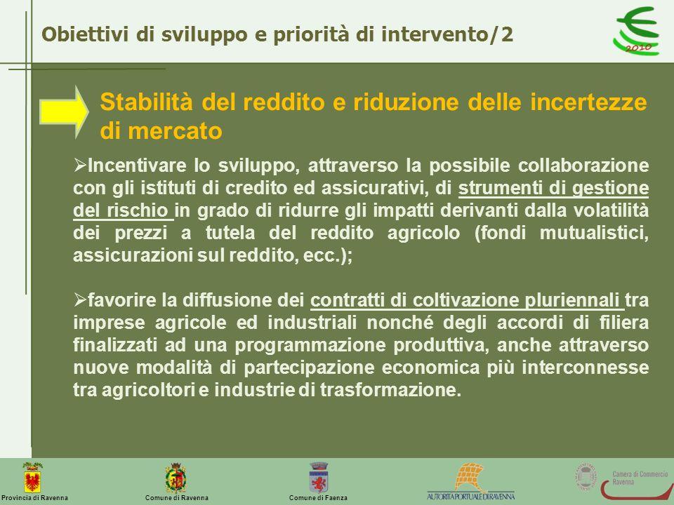 Comune di Ravenna Comune di FaenzaProvincia di Ravenna Obiettivi di sviluppo e priorità di intervento/2 Stabilità del reddito e riduzione delle incert