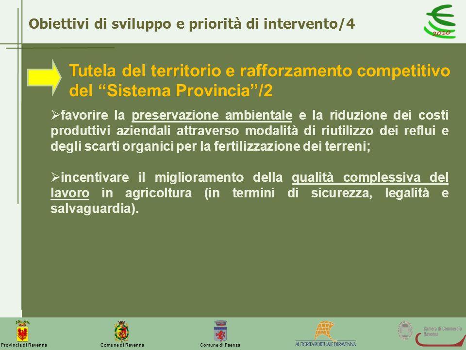 Comune di Ravenna Comune di FaenzaProvincia di Ravenna Obiettivi di sviluppo e priorità di intervento/4 Tutela del territorio e rafforzamento competit