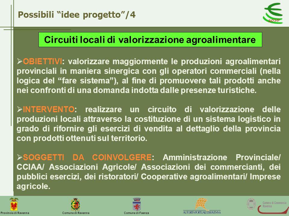 Comune di Ravenna Comune di FaenzaProvincia di Ravenna Possibili idee progetto/4 Circuiti locali di valorizzazione agroalimentare OBIETTIVI: valorizza