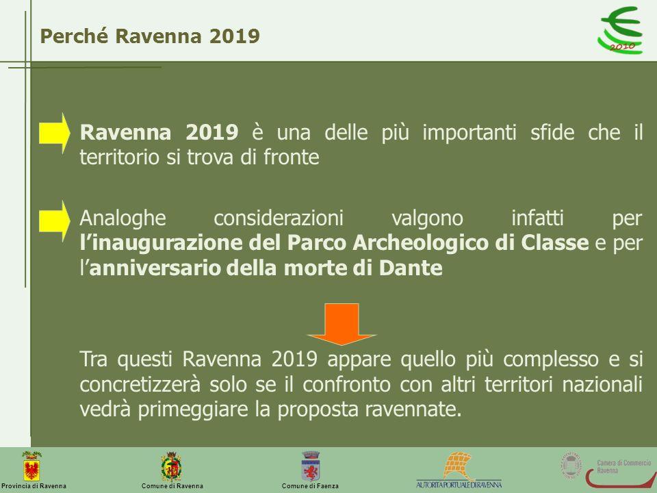 Comune di Ravenna Comune di FaenzaProvincia di Ravenna Perché Ravenna 2019 Ravenna 2019 è una delle più importanti sfide che il territorio si trova di