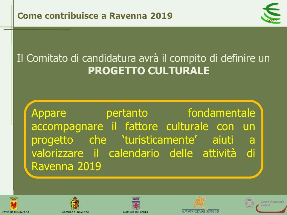 Comune di Ravenna Comune di FaenzaProvincia di Ravenna Come contribuisce a Ravenna 2019 Il Comitato di candidatura avrà il compito di definire un PROG