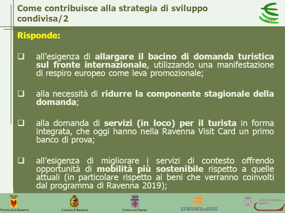 Comune di Ravenna Comune di FaenzaProvincia di Ravenna Come contribuisce alla strategia di sviluppo condivisa/2 Risponde: allesigenza di allargare il