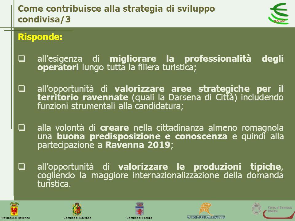 Comune di Ravenna Comune di FaenzaProvincia di Ravenna Come contribuisce alla strategia di sviluppo condivisa/3 Risponde: allesigenza di migliorare la