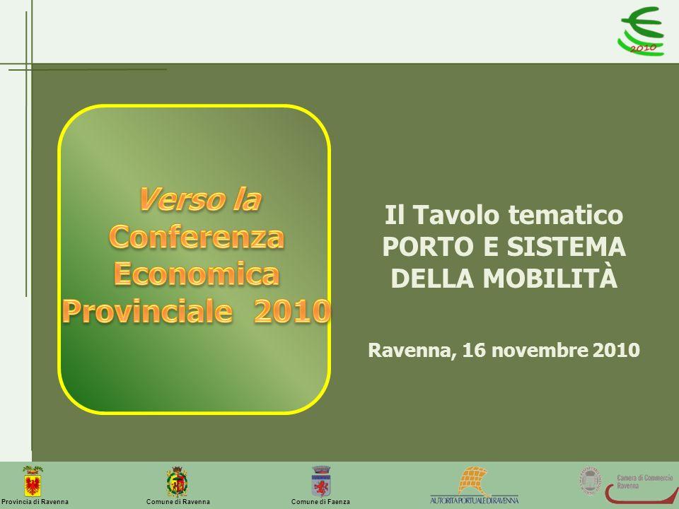 Comune di Ravenna Comune di FaenzaProvincia di Ravenna Il Tavolo tematico PORTO E SISTEMA DELLA MOBILITÀ Ravenna, 16 novembre 2010