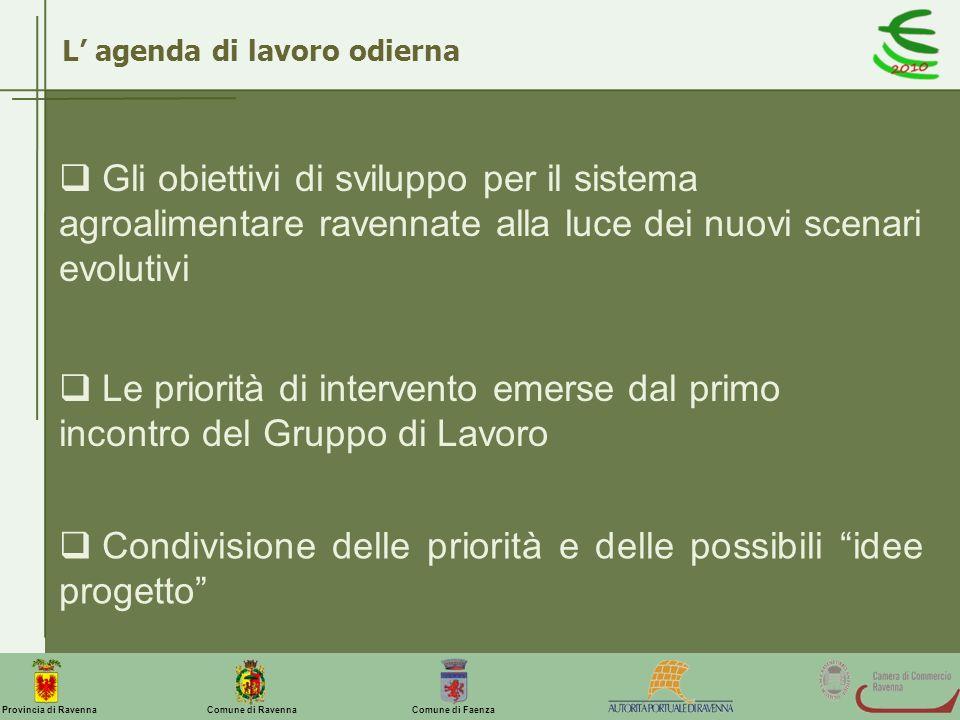 Comune di Ravenna Comune di FaenzaProvincia di Ravenna L agenda di lavoro odierna Gli obiettivi di sviluppo per il sistema agroalimentare ravennate al