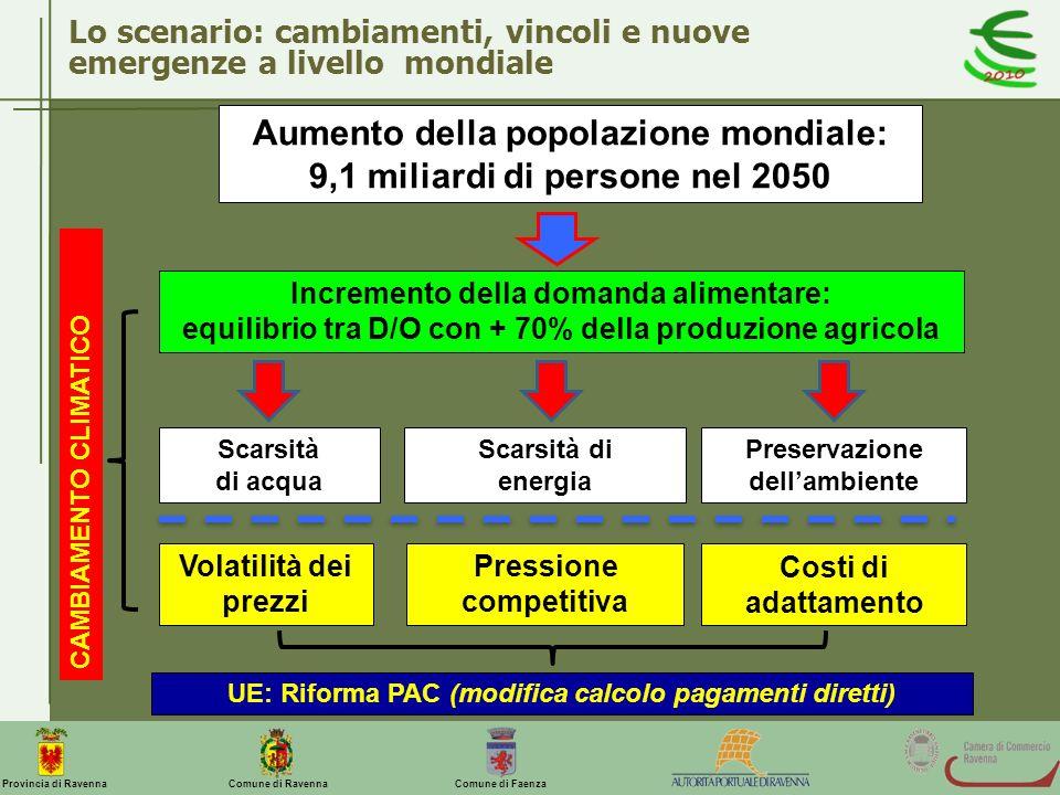 Comune di Ravenna Comune di FaenzaProvincia di Ravenna Lo scenario: cambiamenti, vincoli e nuove emergenze a livello mondiale Aumento della popolazion