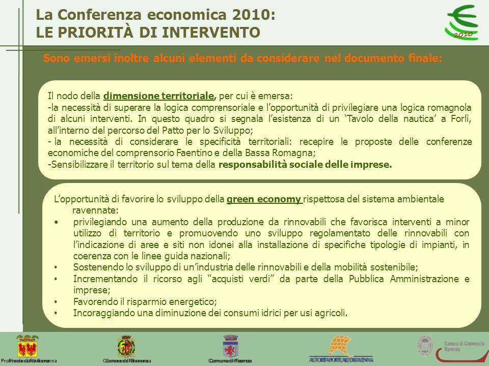 Comune di Ravenna Comune di FaenzaProvincia di Ravenna La Conferenza economica 2010: LE PRIORITÀ DI INTERVENTO Sono emersi inoltre alcuni elementi da
