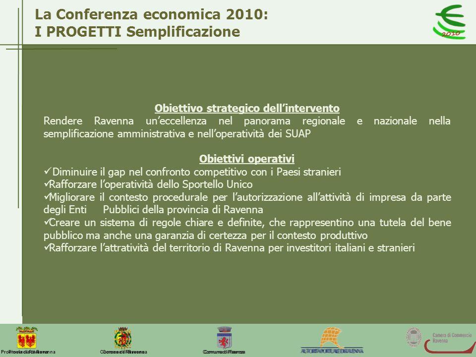 Comune di Ravenna Comune di FaenzaProvincia di Ravenna La Conferenza economica 2010: I PROGETTI Semplificazione Obiettivo strategico dellintervento Re