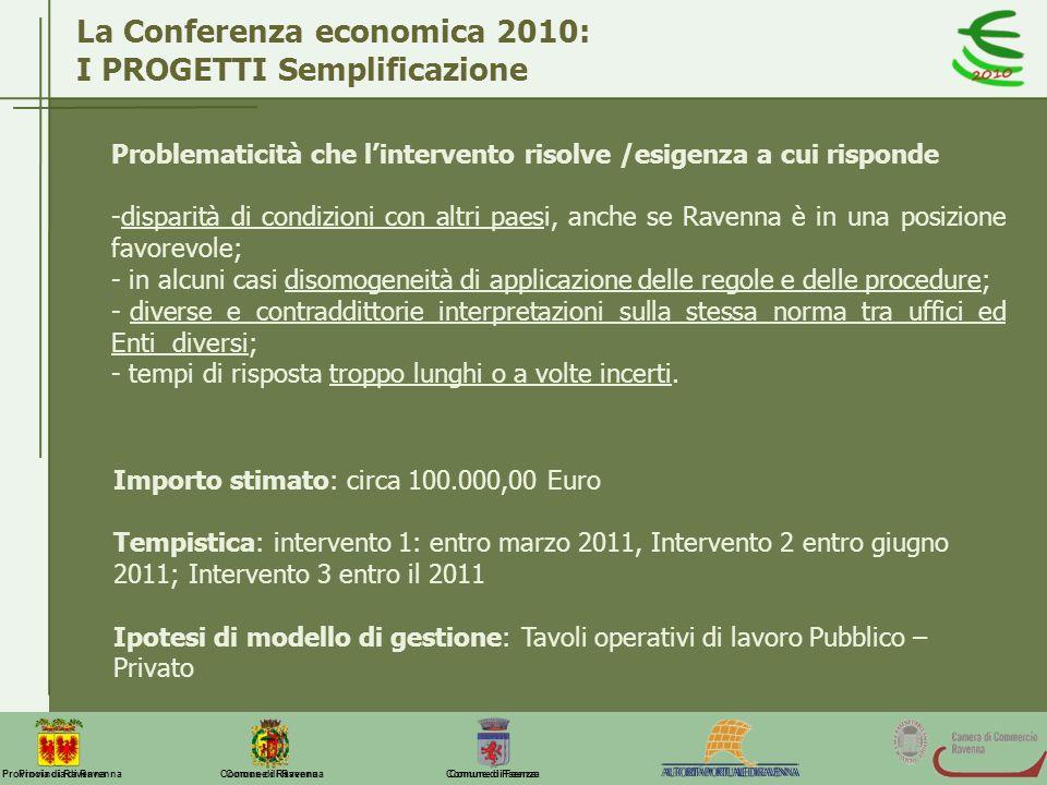 Comune di Ravenna Comune di FaenzaProvincia di Ravenna La Conferenza economica 2010: I PROGETTI Semplificazione Problematicità che lintervento risolve