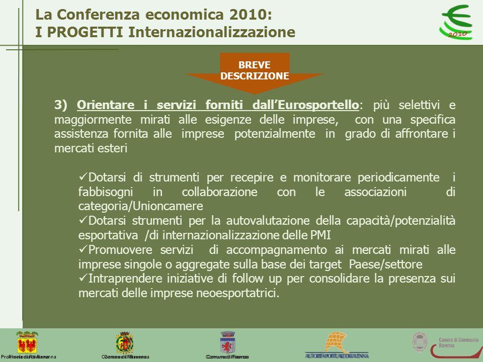 Comune di Ravenna Comune di FaenzaProvincia di Ravenna La Conferenza economica 2010: I PROGETTI Internazionalizzazione 3) Orientare i servizi forniti