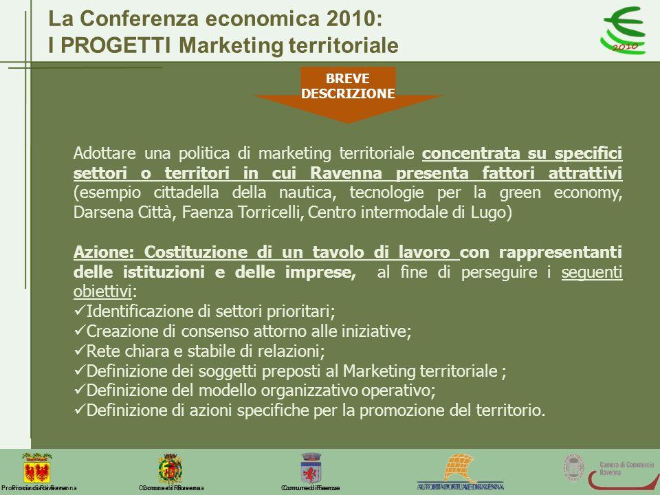 Comune di Ravenna Comune di FaenzaProvincia di Ravenna La Conferenza economica 2010: I PROGETTI Marketing territoriale Adottare una politica di market