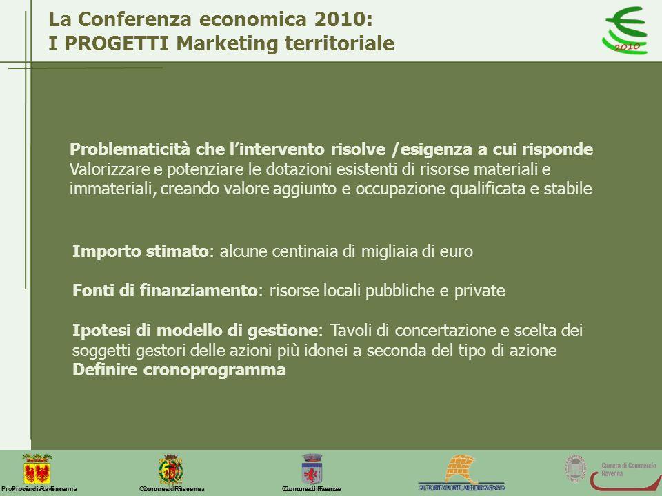 Comune di Ravenna Comune di FaenzaProvincia di Ravenna La Conferenza economica 2010: I PROGETTI Marketing territoriale Problematicità che lintervento