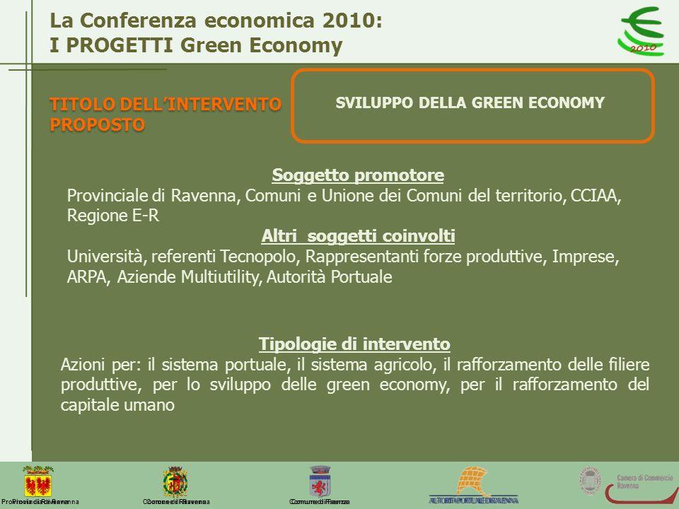Comune di Ravenna Comune di FaenzaProvincia di Ravenna La Conferenza economica 2010: I PROGETTI Green Economy SVILUPPO DELLA GREEN ECONOMY Soggetto pr
